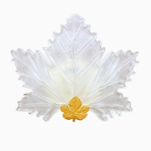 Italian Glass & Golden Metal Leaf Wall Sconce, 1970s
