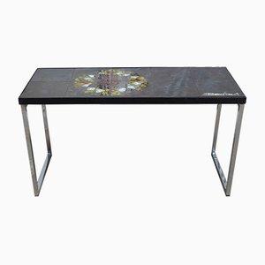Tavolino piccolo in ceramica e cromato di Juliette Belarti, Belgio, anni '60
