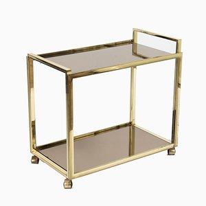 Carrello bar vintage a due ripiano in vetro e placcato in oro