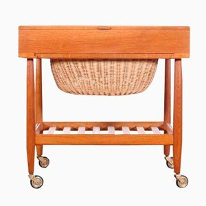Danish Oak Sewing Table by Ejvind A. Johansson for FDB, 1960s