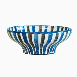Large Striped French Bowl by Robert Picault, 1940s