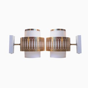 Vintage Danish Acrylic & Brass Wall Lamps by Bent Karlby for Lyfa, Set of 2