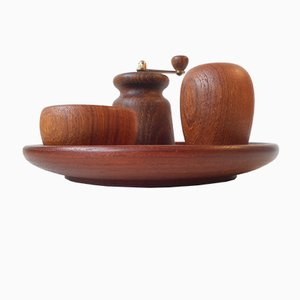 Organically Shaped Mid-Century Teak Salt & Pepper Menage by Kay Bojesen