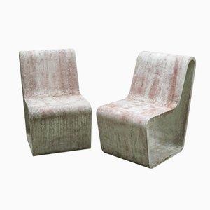 Britische Beton Stühle, 1970er, 2er Set