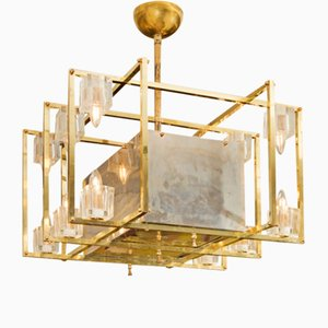 Lámpara de techo geométrica de latón