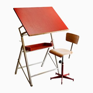 French Drawing Table and Chair, 1970s