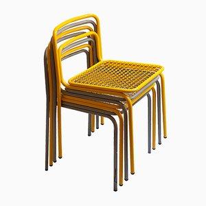 Französische Metall Stühle, 1980er, 4er Set