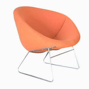 Orange Fabric Lounge Chair, 1960s