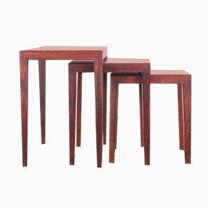 Tavolini a incastro Mid-Century moderni in mogano di Severin Hansen per Haslev Møbelsnedkeri A/S, anni '60
