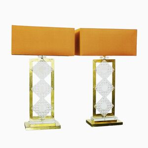 Italian Brass and Glass Table Lamps, Set of 2