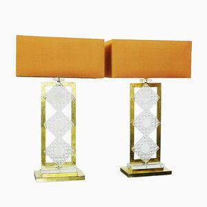Lampes de Bureau en Laiton et en Verre, Italie, Set de 2