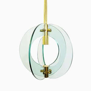 Glass and Brass Spherical Ceiling Light