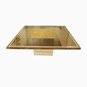 Smoked Glass and Travertine Coffee Table