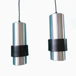 Lámparas colgantes Mid-Century de aluminio cepillado, años 60. Juego de 2