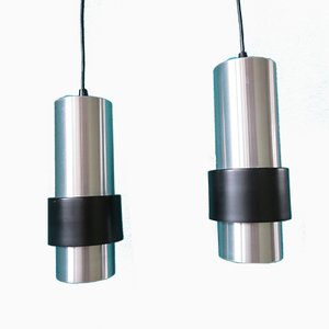 Mid-Century Danish Brushed Aluminum Pendant Lamps, 1960s, Set of 2
