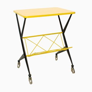 Vintage Yellow Serving Trolley, 1950s