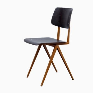 Model S16 Brown Ochre & Black Pagwood Chair from Galvanitas, 1970s