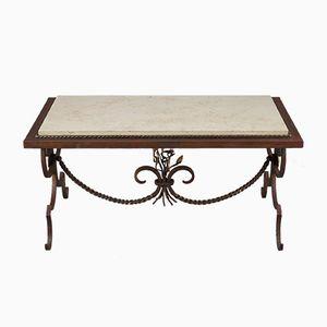 Tavolino da caffè in ferro battuto dorato e marmo, anni '50