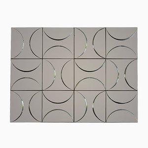 Pannello da parete geometrico in metallo curvo, anni '70