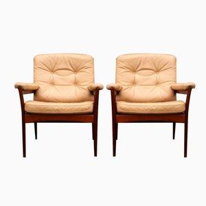 Chaises Lounge Mid-Century en Cuir de G-Möbel Sweden, 1970s, Set de 2