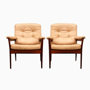 Mid-Century Leather Lounge Chairs from G-Möbel Sweden, 1970s, Set of 2