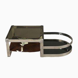Tavolino da caffè in acciaio inossidabile con due archi di Willy Rizzo, anni '70