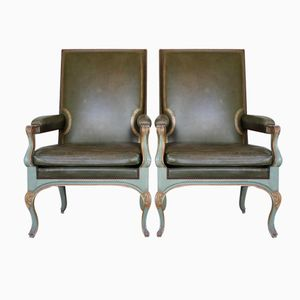 Vintage Green Lacquered Armchairs from Maison Jansen, Set of 2
