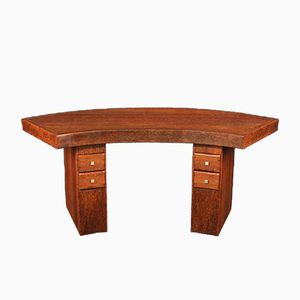 Curved Art Deco Palmwood Desk, 1930s