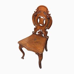 Silla de entrada inglesa victoriana antigua de caoba tallada