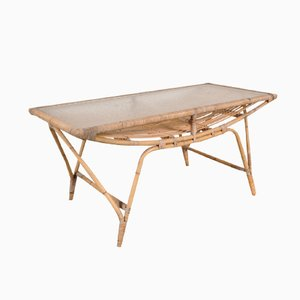 Table Basse en Rotin, Danemark, 1950s