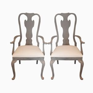 Antique Swedish Baroque Style Armchairs, Set of 2