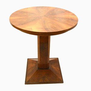 Round German Art Deco Walnut Table, 1935