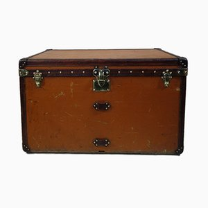 French Steamer Trunk with Orange Vuitonite from Louis Vuitton, 1900s