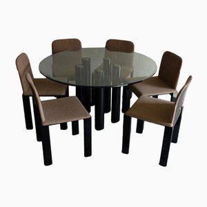 Mesa de comedor con 6 sillas de Marco Zanuso para Zanotta, 1979
