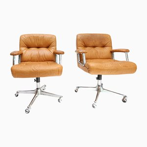 Cognac Leather Desk Chairs by Osvaldo Borsani for Tecno, 1960s, Set of 2