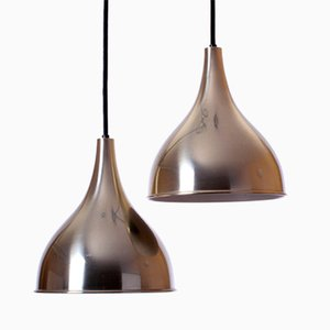Modernist Silhuet Brass Pendant Lamps by Jo Hammerborg for Fog & Mørup, 1970s, Set of 2