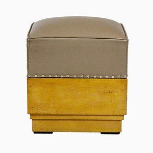 Pouf vintage in legno e pelle, anni '30