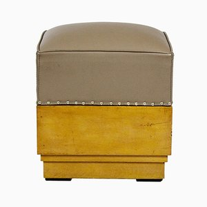 Vintage Pouf in Wood and Leather, 1930s