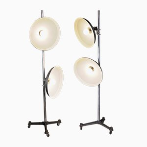 French Double Reflector Floor Lamps from Cremer, 1950, Set of 2