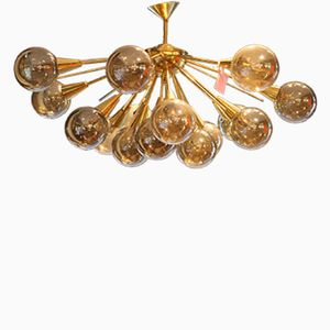 Brass & Golden Murano Glass Half Sputnik Chandelier, 1980s