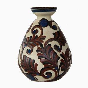 Vase Vintage Verni Bleu et Maron de Kähler