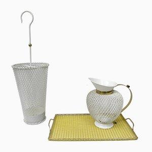 Mid-Century White & Yellow Metal & Brass Umbrella Stand, Tray, & Jug