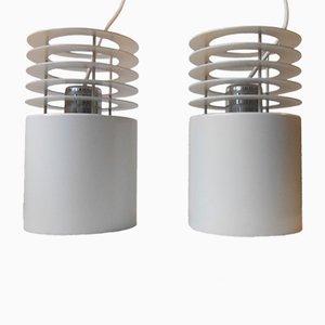 Lámparas colgantes Hydra 1 minimalistas blancas de Jo Hammerborg para Fog & Morup, años 70. Juego de 2