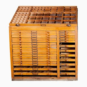 Industrial Printer's Cabinet with Drawers, 1890s