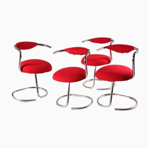 Red Chairs by Giotto Stoppino, 1970s, Set of 4