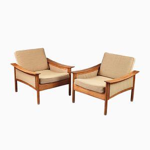 Teakholz Sessel von Oskar Langlo für P. I. Langlos Fabrikker A/S, 1950er, 2er Set
