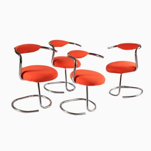 Fauteuils Orange par Giotto Stoppino, 1970s, Set de 4