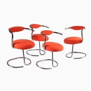 Orange Stühle von Giotto Stoppino, 1970er, 4er Set