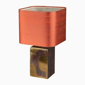 Messing Tischlampe mit Kupfer Intarsie, 1970er