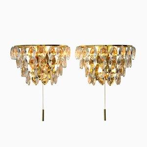 Kristallglas Wandlampen, 1960er, 2er Set